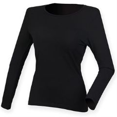 THURSO  HIGH SCHOOL WOMENS FEEL GOOD BLACK LONG SLEEVED STRETCH T-SHIRT WITH LOGO
